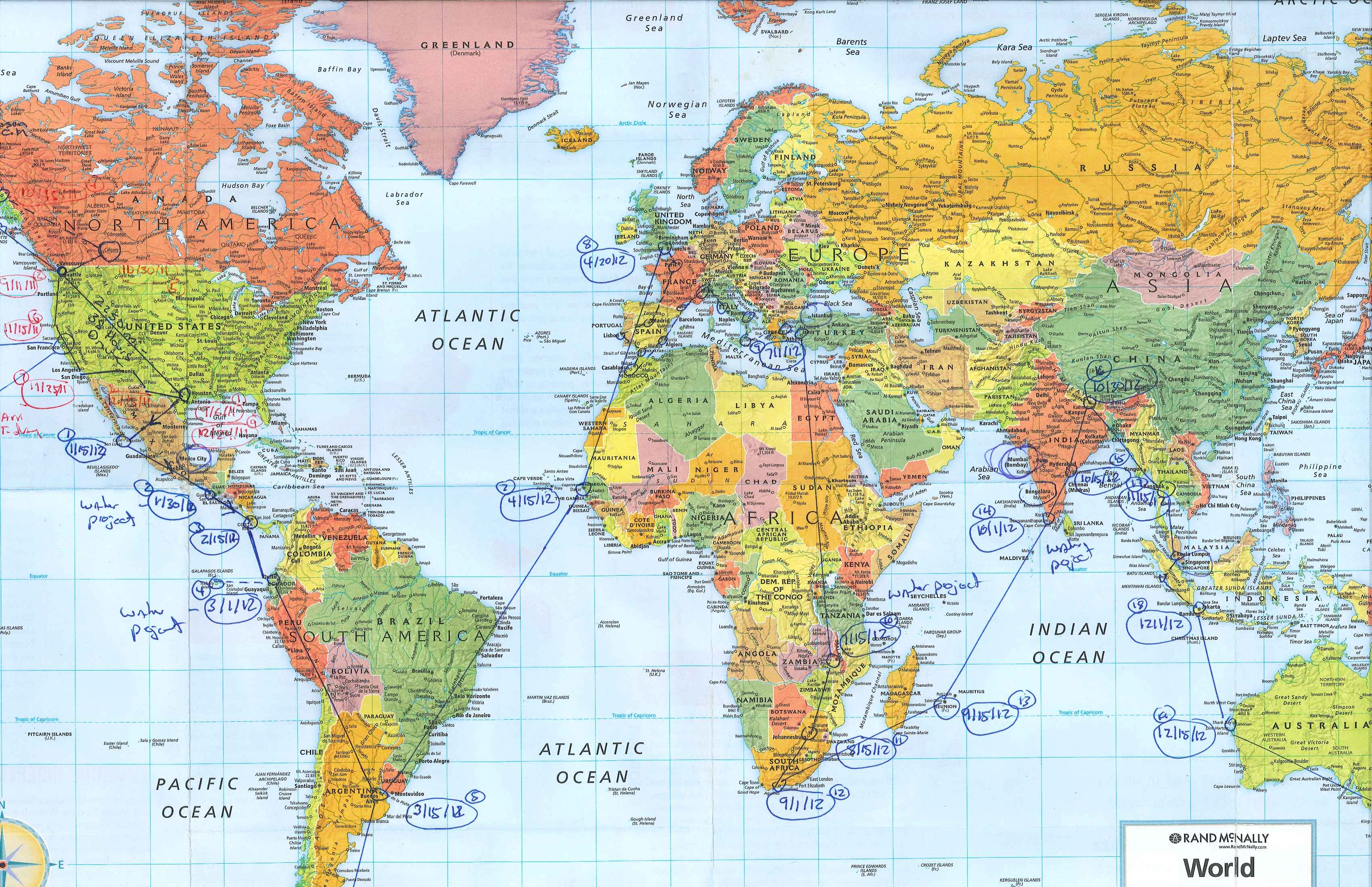 Itinerary Ongoing Plan for World Travels and Hopeful Water – World Map For Travel Planning